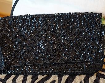 Vintage Regale Black Sequin Clutch/ Retro fashion/ Beaded Purse