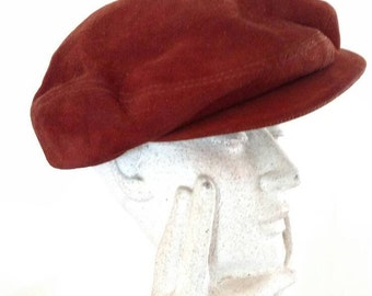 Vintage Lucania Rust-Colored Suede Newsboy Cap/Men's Hat/ Made in Italy/ Roma/Hilton Hats/ Unisex Hat/ Hipster Hat/ Boho Fashion