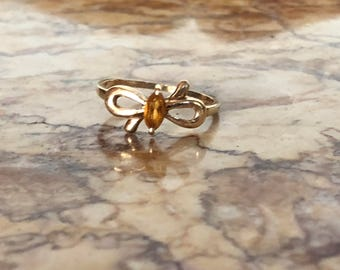 10K Gold Ring with Yellow Tourmaline Bow
