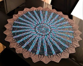 crochet blue tablecloth 72 cm 28.5 inches crocheted big round oval doily table cloth table linen handmade multi color doily crocheted doilie