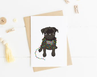 Pug wrapped in Christmas Lights, Funny Christmas Card, Pug Gift, Dog Lover Gift, Funny Holiday Card, Pet Gift Ideas, Pug Print, Xmas Cards