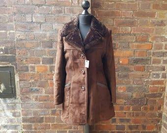 Vintage 1970s Brown Sheepskin Coat | Mod Coat