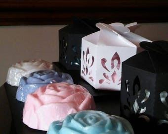 4pcs Handmade Rose Soaps- Various Fragrances & Colours! With FREE gift box for each!