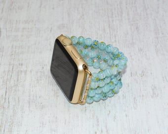 Apple watch band 42mm / 38mm // lampwork beads iwatch band apple watch accessories - apple watch strap - rose gold lugs adapter stretch fit