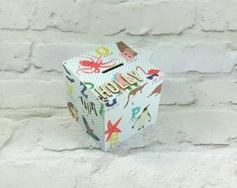 Pretty Alphabet Money Box with Unicorns, Flamingos, Dinosaurs and Ladybirds. Perfect for Alphabet Decor ideas, Christmas Stocking Fillers