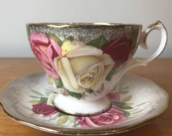 """Queen Anne """"Lady Sylvia"""" Vintage Teacup and Saucer, Pink White Red Rose Tea Cup & Saucer, English Floral Bone China, Heavy Gold"""
