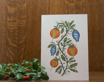holly Christmas tree, Christmas greeting card, note card, winter, holiday, colorful, unique handmade, Christmas decor, whimsical, ornament
