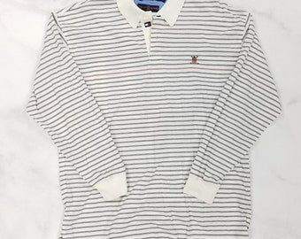 Vintage 90s Tommy Hilfiger Blue Striped Long Sleeve Rugby Golf Polo Shirt, Mens Large