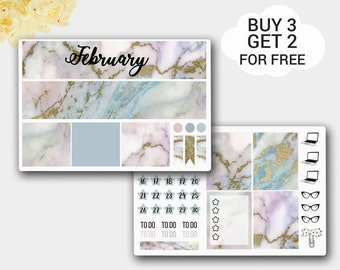 Marble Stickers Monthly View for Erin Condren Life Planner, Happy Planner, February Monthly View