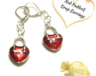 Valentine Red padlock Heart Earrings, Enamelled Padlock Earrings,Small Drop Earrings,Friendship Gift, Unique Style Gift, On Trend style
