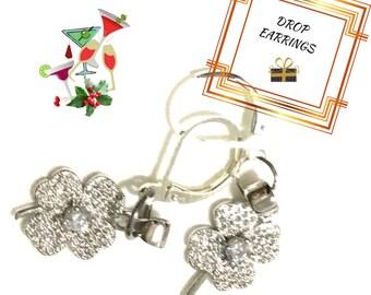 Silver Four Leaf Clover Earrings, Gift for Her, Lucky Earrings, Cubic Zirconia Clover Earrings,On Trend Earring Gift, Anytime Gift,