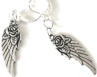 Tiny Angel Wings Earrings, Antique Silver Earrings, Sweet Gift for Her, Rose and Wings Earring Gift, On Trend Earrings, Pretty Earring Gift