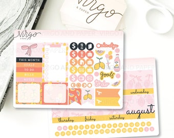 August 2017 Monthly Cover -  August Monthly Sticker Kit - Pink Lemonade theme August Monthly Cover Glossy/Matte Stickers 1708