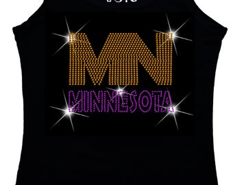 Minnesota  Bling Tank Top sequins Shirt No Rhinestones