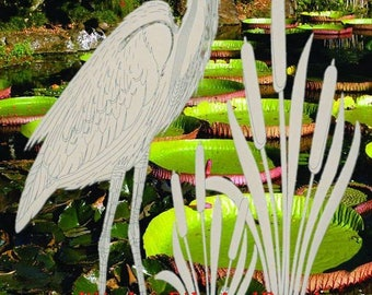 "Left Facing Egret & Cattails Oval Static Cling Window Decal 8"" x 12"" (Rev) - Clear w/White Design"