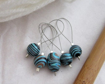 Blue Brown Howlite Striped Stitch Markers, Pack of 5, Yarn, Wool, Knitting Project, Knit Markers, Fits Most Needles, Notions, Handmade