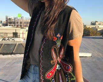 Vintage 80s embroidered vest