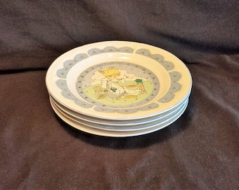 PRECIOUS MOMENTS PLATE Salad Dessert lot of 4 Girl Goose Frog Blue Trim Tea Party Vintage