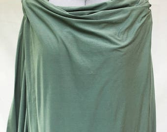 Pale green jersey dress - Wrapped shoulder dress - T-shirt dress - almond green dress - Polycotton jersey dress - Hand made - Made in France