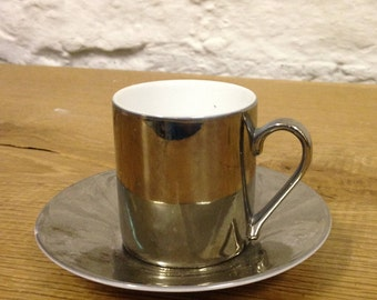 Vintage Silver Coloured Demitasse / Espresso Cup and Saucer - In Good Condition