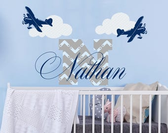 Wall Decal Personalized Boys Initial Colorful Name Vinyl Sticker Clouds Airplane Decals Custom Nursery Decor Kids Room Bedroom NS2025