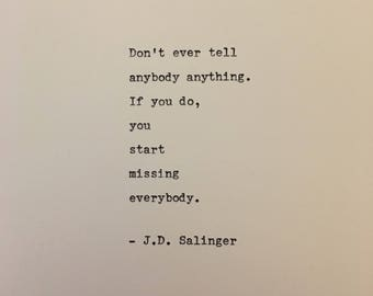 J.D. Salinger love quote Catcher in the Rye hand typed on antique typewriter gift girlfriend boyfriend husband wife wedding present birthday