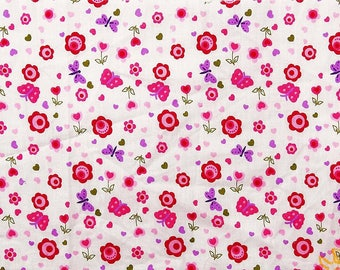 "Dressmaking Fabric, Heart Print, Sewing Fabric, Home Decor, White Fabric, 43"" Inch Cotton Fabric By The Yard ZBC7933A"