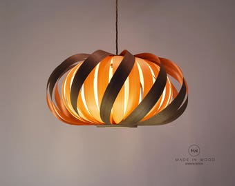 Ceiling light from wood veneer - Twisted from walnut / Exclusive Lamp Pendent Lampshade Lighting