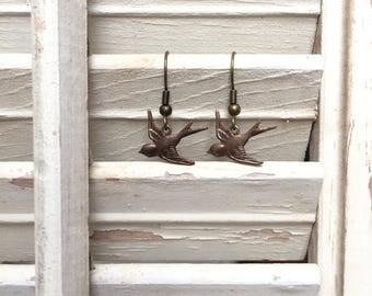 Dainty Bronze Sparrow Earrings