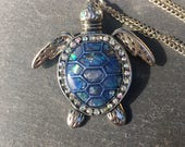 Sea Turtle Necklace - Blue Sea Turtle Necklace - Turtle Necklace - Long Necklace - Navy Blue Sea Turtle Long Necklace