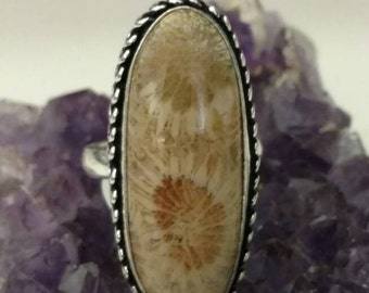 Fossilized Coral Ring Size 7 1/2