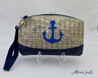 Recycled Sailcloth Wristlet - Blue Anchor Sailcloth Bag - Navy Blue Anchor - Recycled Sail Bag - Sail Cloth - Nautical Bag - Clutch Bag