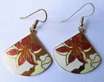 Vintage Red Poinsettia Enamel Earrings, Red & Gold Poinsettia Flower Dangle Pierced Floral Multi Color Earrings, Christmas Earrings, 1980s'