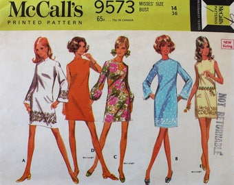 Vintage Sewing Pattern - 1960s Dress Pattern - McCall's 9573