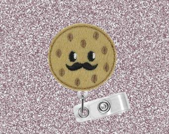 Chocolate Chip Cookie, Mustache, Cookies, ID Badge Reel, Retractable Badge Holder, Badge Reel, Badge Clip, Cute Badge Reel, Felt Badge Reel