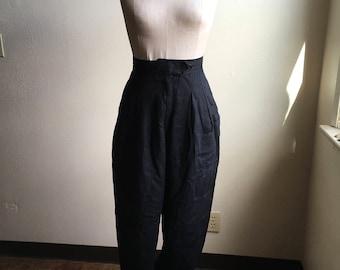 vintage 80s ann tjian for kenar black linen high waist pleated pants made in hong kong w25