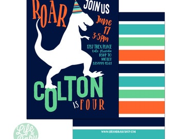 Dinosaur Birthday Invitation | Dinosaur Invitation | TRex Invitation | Roar Invitation - 5x7 with reverse side
