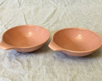 Vintage Mid Century Coral Lugged Soup Bowls, Set of 2