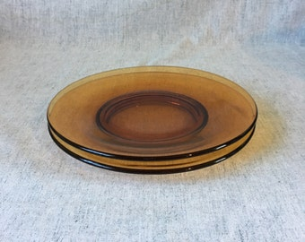 Vintage Amber Glass Lunch Plates, Set of 2