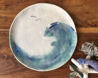 Side Plate | Ideal Christmas Gift| Ceramic Side Plate | Cake Plate | Blue and Green Plate  | 'Seascape Collection' Plate