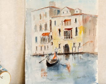 """Original  watercolor painting of Venice Italy with a gondola in front of Venetian palaces - original painting of Venice in Italy - 11"""" x 15"""""""