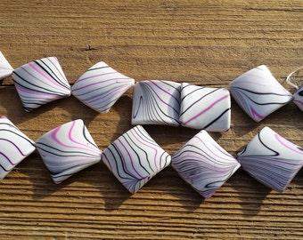 Acrylic Beads, White/Purple/Black, Twisted Diamond Shape, 30x28mm