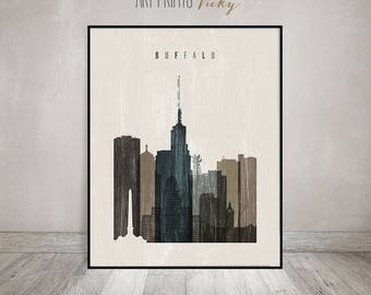 Buffalo skyline art print, Poster, Wall art, Travel decor, distressed art, City poster, Typography art, Home Decor, ArtPrintsVicky.