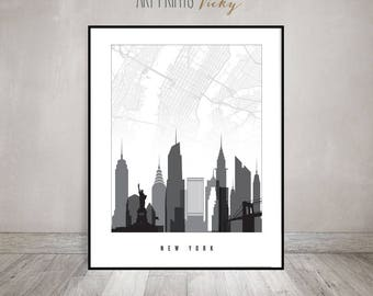 New York City Map Print Skyline Poster | ArtPrintsVicky.com