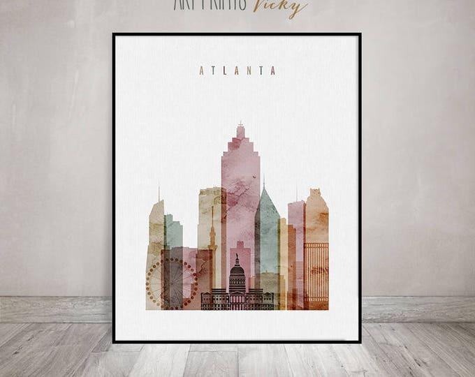 Atlanta art print, Watercolor Poster, Atlanta skyline, Wall art, travel decor, Georgia, City poster, Home Decor Digital Print ArtPrintsVicky