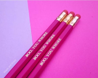 Mean girls quote pencils - Boo you whore slogan pencils quirky stationery stocking filler stocking stuffer writing school supplies gold foil