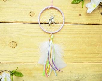 Pastel Unicorn Dreamcatcher: Unicorn Accessory, Rearview Mirror Charm, Pastel Rainbow Unicorn Accessory, Pastel Car Decor, Unicorn Gift