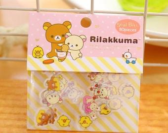 Rilakkuma Stickers / Korilakkuma Sticker Flakes / Kawaii Stickers / Cute Stickers / San-X Stationery / San-X Stickers / Rilakkuma Stationery