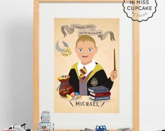 Illustrated Harry Potter Portrait // Harry Potter Couple portrait // Custom Illustration // Movie Themed Poster / Wedding Anniversary Gift