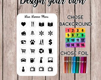 FOILED ICONS - Design your own! | perfect for storing in sticker wallet